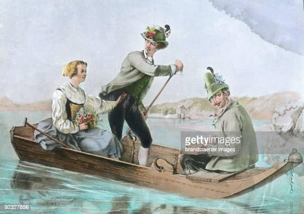 Franz Joseph, Elisabeth and Duke Maximilian Joseph in Bavaria making a boat trip on the Starnbergersee. Lithograph. 1853.