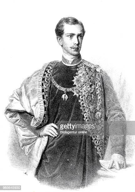 Franz Joseph I., 18 August 1830 - 21 November 1916, Emperor of Austria, taking office of his government, drawing from the year 1848, digital improved...