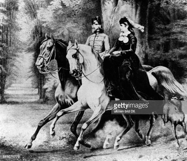 Franz Joseph I. *18.08.1830-+Kaiser von Österreich 1848-1916König von Ungarn seit -1867- mit seiner Gattin Elisabeth auf dem Ausritt.