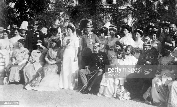 Franz Joseph I, Emperor of Austria, seated centre, at the marriage of Archduke Charles to Princess Zita of Bourbon-Parma at Schwarzau Castle, 21...