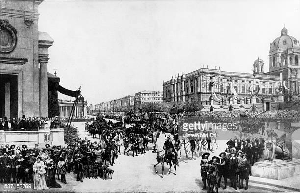Franz Joseph I Emperor of Austria,Franz Joseph I. Kaiser von Österreich , Kaiser von Österreich 1848-1916, König von Ungarn seit-1867, Festzug zur...