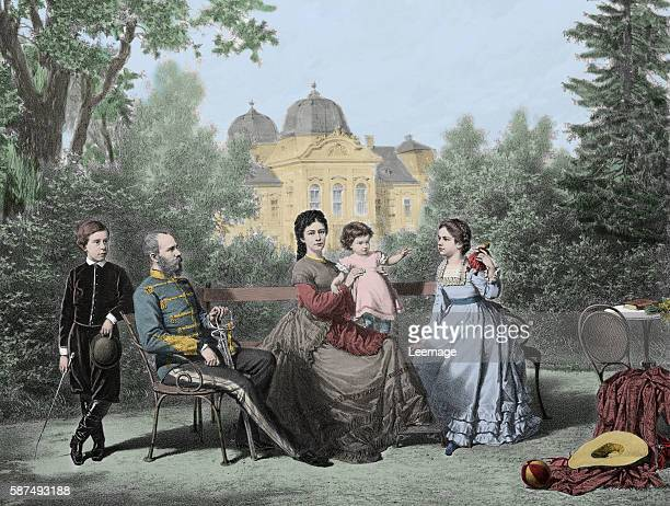 Franz Joseph I of Austria Emperor of Austria and his wife Elisabeth of Austria and with their children Gisele Rodolphe and Marie valerie in Godollo...