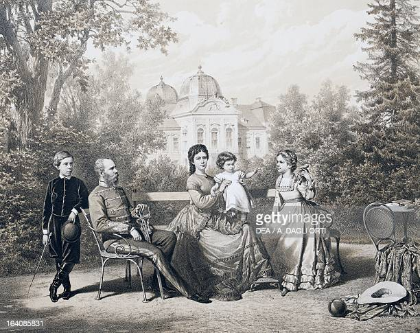 Franz Joseph I of Austria Emperor of Austria and King of Hungary and his wife Elisabeth of Austria and his son Rudolf of HabsburgLorraine her...