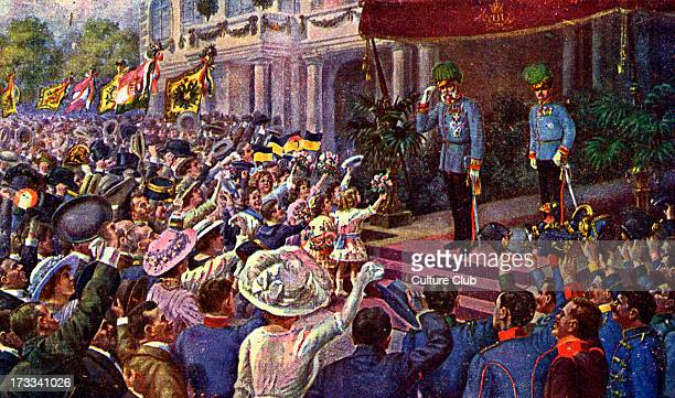 Franz Joseph I of Austria outside of state building of town in Austro Hungarian Empire Emperor of Austria King of Bohemia King of Croatia Apostolic...