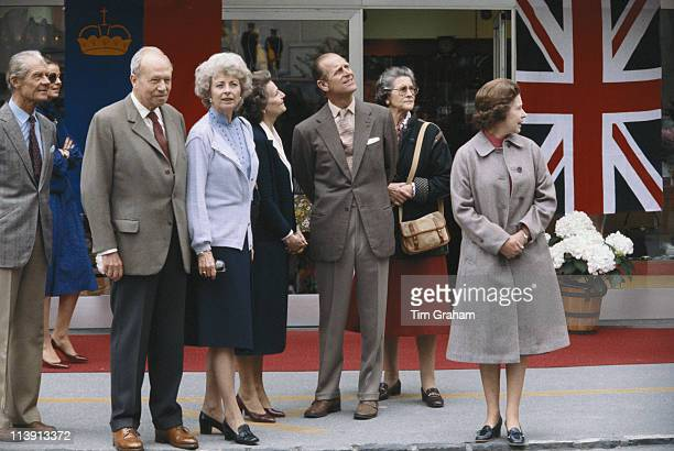 Franz Joseph II Prince of Liechtenstein with his wife Countess Georgina von Wilczek Prince Philip and Queen Elizabeth II in Liechtenstein in April...