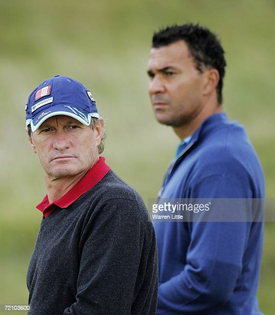 Franz Klammer and Ruud Gullit look on during the second round of The Alfred Dunhill Links Championship at Kingsbarns Golf Club on October 6, 2006 in...