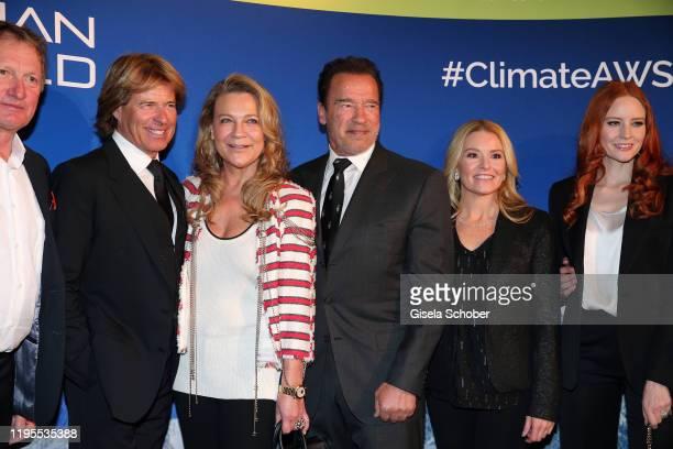Franz Klammer Hansi Hinterseer Romana Hinterseer Arnold Schwarzenegger Heather Milligan and Barbara Meier during the Schwarzenegger climate...