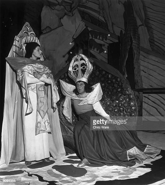 Franz Lechleichner as Herod and Constance Shacklock as Herodias in the Covent Garden production of the Richard Strauss' opera 'Salome'. Produced by...