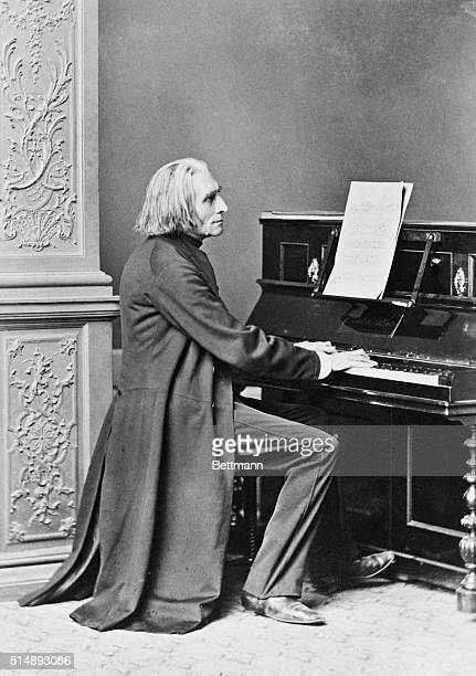 Franz Liszt at the piano from an old photograph