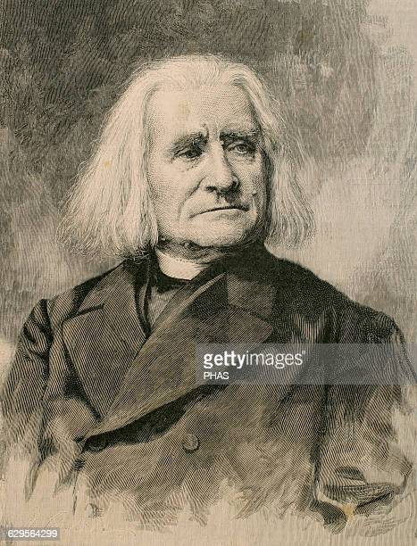 Franz Liszt Hungarian composer and virtuoso pianist Engraving by La Ilustracion Artistica 1886