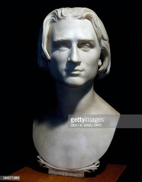 Franz Liszt Hungarian composer pianist and conductor marble bust created in 1840 by Lorenzo Bartolini Weimar LisztHaus