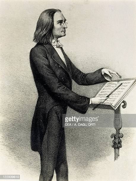 Franz Liszt Hungarian composer pianist and conductor portrayed by C F Hoffmann during his years in Weimar