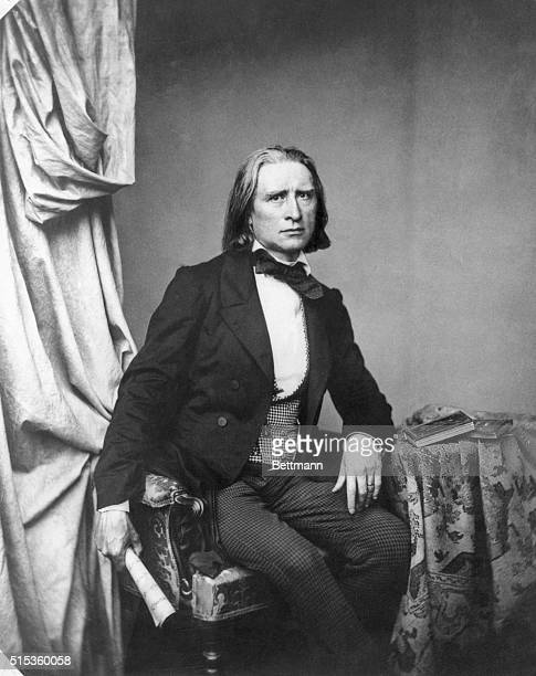 Franz Liszt the Hungarian composer is shown in an early photograph