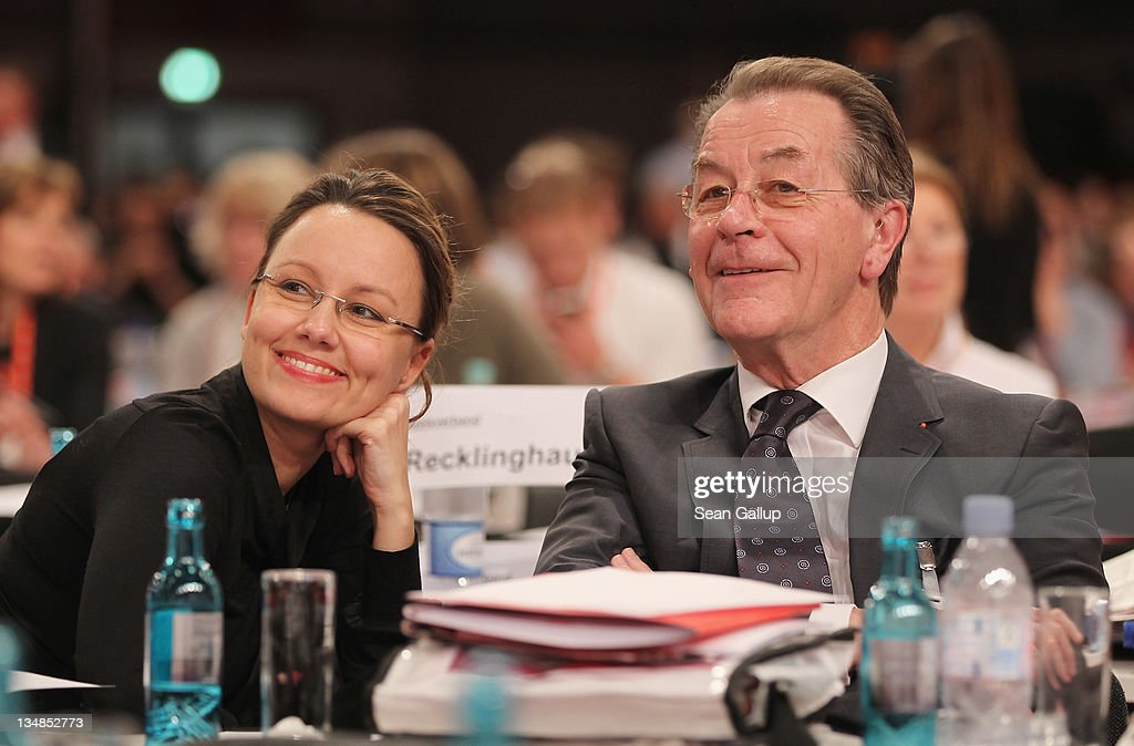 Franz Muentefering, former Chairman of the German Social Democrats (SPD), and his wife Michelle attend the SPD annual federal congress on December 4, 2011 in Berlin, Germany. The SPD is Germany's biggest opposition party and has seen its popularity rise in the last year as the current German government coalition of Christian Democrats and Free Democrats has faced political stumbling blocks.
