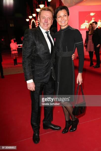 Franz Rauch and his wife Nora Rauch during Michael Kaefer's 60th birthday celebration at Postpalast on February 2 2018 in Munich Germany