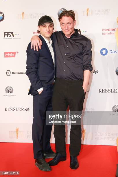 Franz Rogowski and Oliver Masucci attend the nominee dinner for the German Film Award 2018 Lola at BMW Niederlassung Berlin on April 7, 2018 in...