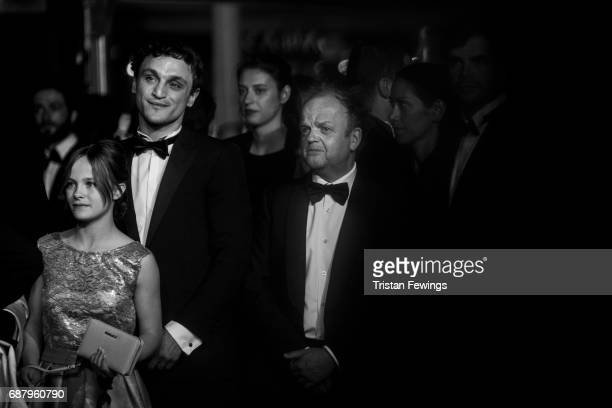 Franz Rogowski and Toby Jones attend the 'Happy End' screening during the 70th annual Cannes Film Festival at Palais des Festivals on May 22 2017 in...