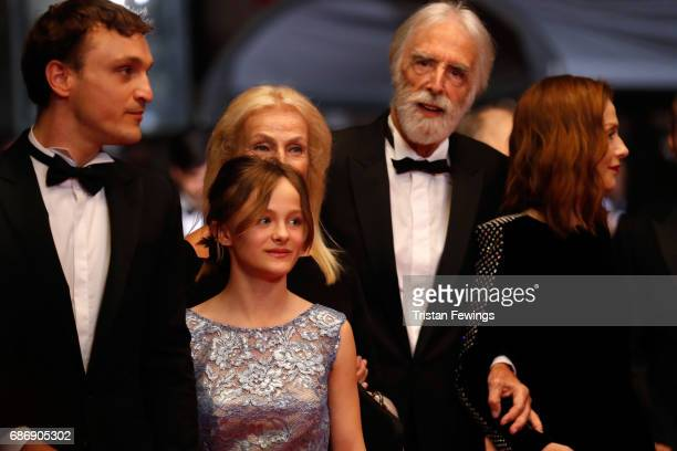 Franz Rogowski Fantine Harduin Susi Haneke Michael Haneke and Isabelle Huppert attend the Happy End screening during the 70th annual Cannes Film...