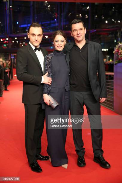 Franz Rogowski Paula Beer and Christian Petzold attend the 'Transit' premiere during the 68th Berlinale International Film Festival Berlin at...