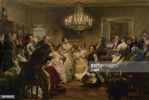 Franz Schubert at the piano during a Schubert Evening in a Vienna salon Oil on canvas 1897 [Franz Schubert am Klavier waehrend eines Schubert Abends...