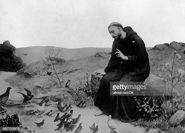 Franz von Assisi Heiliger 1181/82 1226 Kirchenheiliger Ordensgründer predigt den Vögeln Gemälde 19JH