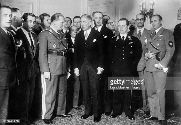 Franz von Papen and Herman Goering at a press conference in Rome Italy Photograph Franz von Papen und Herman Göring bei einer Pressekonferenz in Rom...