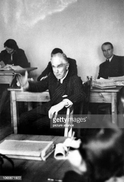 Franz von Papen during his testimony in front of the District Court of Appeal in Nuremberg on the 19th of January in 1949 Pape was one of the main...