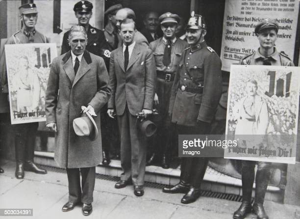 Franz von Papen in front of a Berlin polling station for the referendum on Adolf Hitler as Reich President and Reich Chancellor August 19th of 1934...