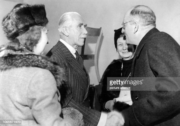 Franz von Papen with his daughter and wife after the verdict of the District Court of Appeal in Nuremberg on the 26th of January in 1949 Pape was one...