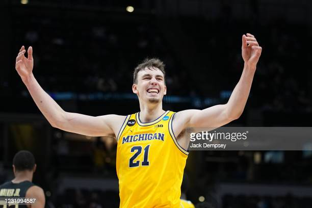 Franz Wagner of the Michigan Wolverines celebrates in the final minutes of the teams victory against the Florida State Seminoles in the Sweet Sixteen...
