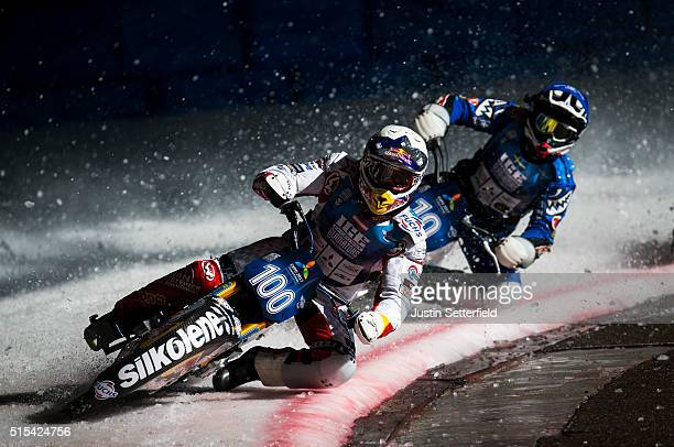 Franz Zorn in action during Ice Speedway World Championship Final on March 13 2016 in Assen Netherlands