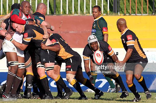 Franzel September of Boland passes the ball to team mate Bolla Conradie during the Absa Currie Cup First Division match between Boland Cavaliers and...