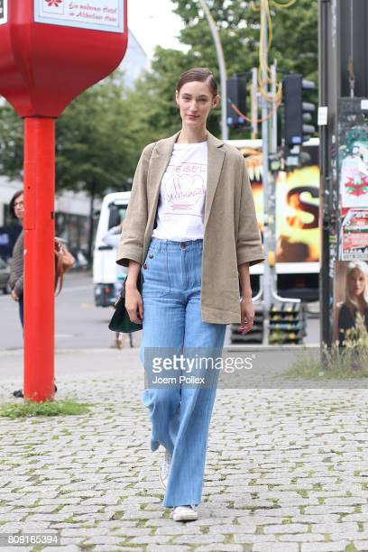 Franzi Mueller wearing Massimo Dutti jacket Celine bag and Malaika Raiss Tshirt is seen during the MercedesBenz Fashion Week Berlin Spring/Summer...