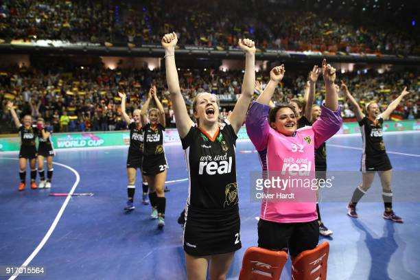 Franzisca Hauke and Rosa Kruger of Germany celebrate after the Women Gold Medal Indoor Hockey World Cup Berlin Final Day match between Germany and...