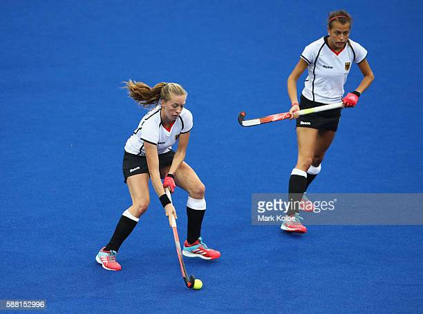 Franzisca Hauke and Selin Oruz of Germany in action during the Women's Pool B Match between Germany and Korea on Day 5 of the Rio 2016 Olympic Games...