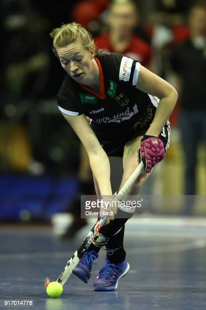 Franzisca Hauke of Germany in action during the Women Gold Medal Indoor Hockey World Cup Berlin Final Day match between Germany and Netherlands on...