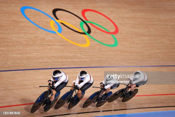 Franziska Brausse of Team Germany and teammates sprint during the Women's team pursuit qualifying of the Track Cycling on day 10 of the Tokyo...