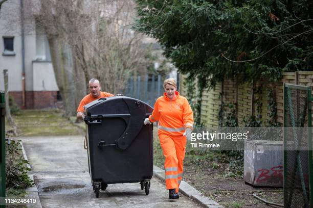 Franziska Giffey German politician and the Federal Minister for Family Affairs Senior Citizens Women and Youth participating in a garbage collection...