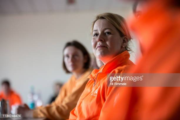 Franziska Giffey German politician and the Federal Minister for Family Affairs Senior Citizens Women and Youth participates in the first networking...