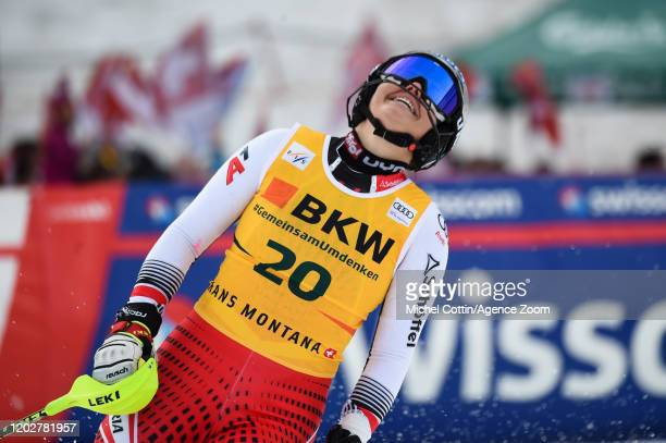 Franziska Gritsch of Austria celebrates during the Audi FIS Alpine Ski World Cup Women's Alpine Combined on February 23, 2020 in Crans Montana...