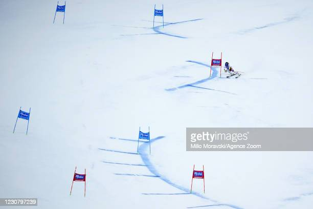 Franziska Gritsch of Austria competes during the Audi FIS Alpine Ski World Cup Men's Giant Slalom on January 26, 2021 in Kronplatz Italy.