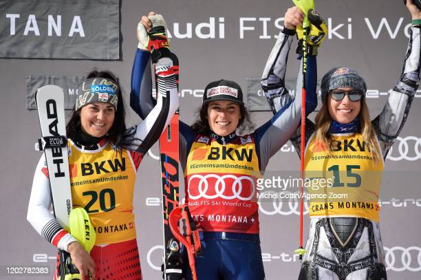 Franziska Gritsch of Austria takes 2nd place, Federica Brignone of Italy takes 1st place, Ester Ledecka of Czech Republic takes 3rd place during the...
