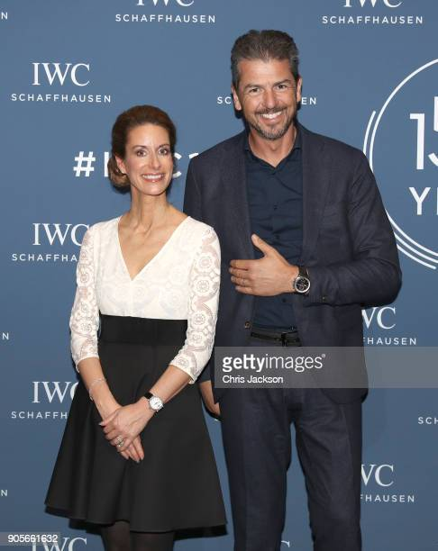 Franziska Gsell and Andrea Berton at the IWC booth during the Maison's launch of its Jubilee Collection at the Salon International de la Haute...