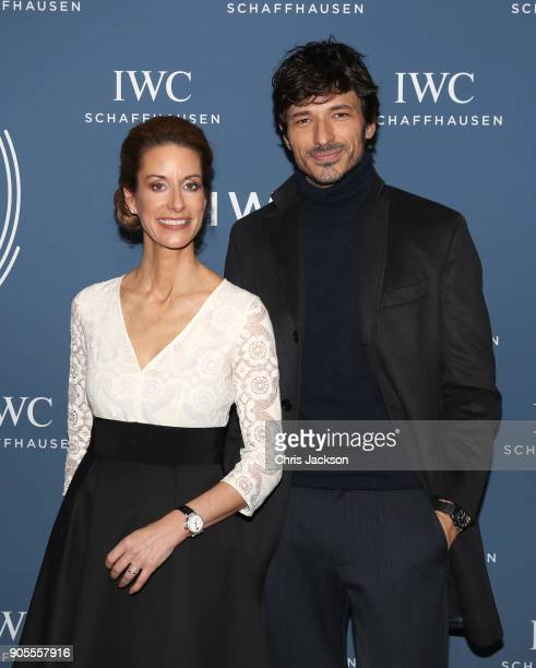 Franziska Gsell and Andres Velencoso at the IWC booth during the Maison's launch of its Jubilee Collection at the Salon International de la Haute...