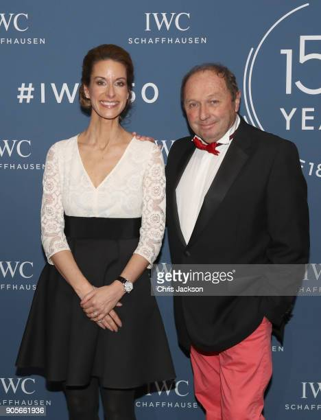 Franziska Gsell and Jochen Mass at the IWC booth during the Maison's launch of its Jubilee Collection at the Salon International de la Haute...