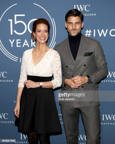 Franziska Gsell and Johannes Huebl at the IWC booth during the Maison's launch of its Jubilee Collection at the Salon International de la Haute...