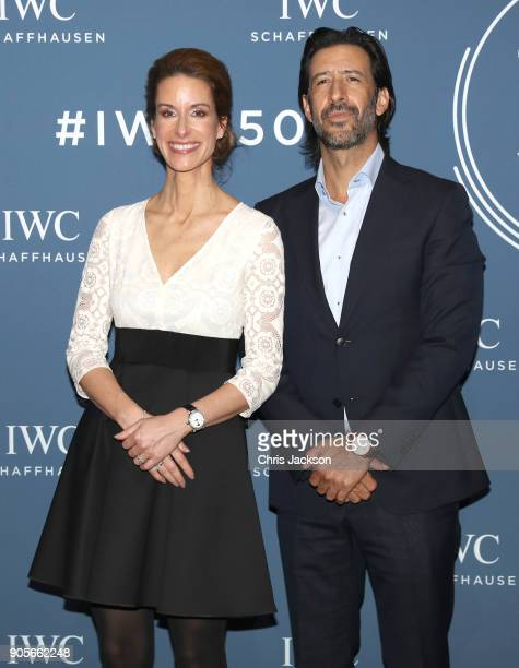 Franziska Gsell and Jose Maria Yazpik the IWC booth during the Maison's launch of its Jubilee Collection at the Salon International de la Haute...
