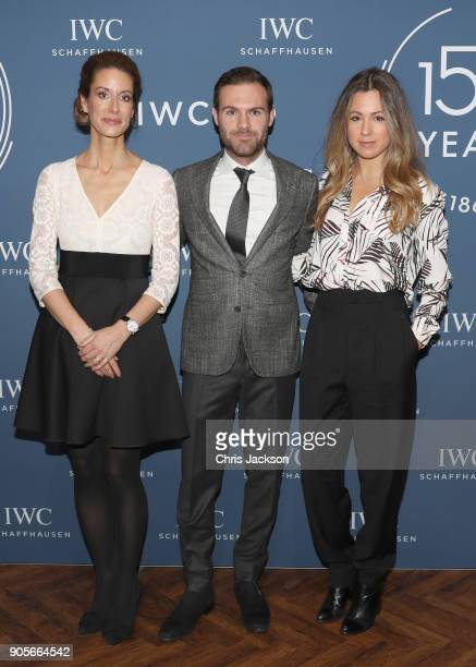 Franziska Gsell Juan Mata and Evelina Kamph at the IWC booth during the Maison's launch of its Jubilee Collection at the Salon International de la...