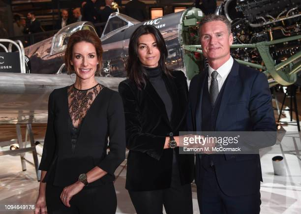 IWC CMO Franziska Gsell Karen Minier and David Coulthard visit the IWC booth during the Maison's launch of its new Pilot's Watches at the Salon...