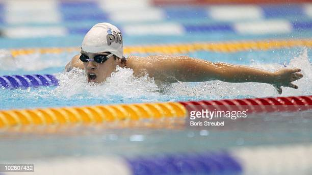 Franziska Hentke of SC Magdeburg competes in the women's 200 m butterfly A final during the German Swimming Championship 2010 at the Eurosportpark on...